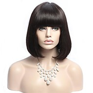 Beautiful 10-24inch Bob Straight Natural Color Brazilian Virgin Hair With Bang Lace Front Wig