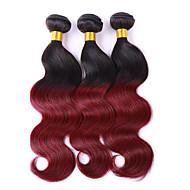 3 morceaux de cheveux ondulés tissent texture brésilienne 100 12-26 extensions de cheveux humains