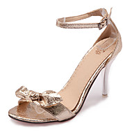 Sandály-Koženka-S otevřenou špičkou / Otevřená špička-Dámská obuv-Černá / Stříbrná / Zlatá-Šaty / Běžné / Party-Vysoký