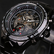 WINNER® Men's Skeleton Automatic self-winding Watch Waterproof Black Stainless Steel Band Wrist Watch Cool Watch  Fashion Watch