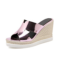 Women's Shoes Patent Leather Wedge Heel Wedges / Slingback / Open Toe Sandals / Slippers Outdoor / Dress Blue / Pink