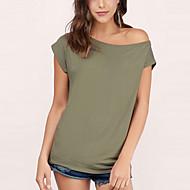 Women's Solid White / Black / Green T-shirt,Off Shoulder Short Sleeve