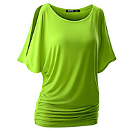 Women's Casual/Daily Sexy / Street chic Summer T-shirt,Solid Round Neck Short Sleeve Red / White / Black / Gray / Green / YellowCotton /