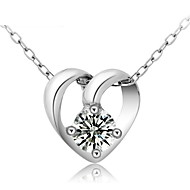 Real 925 Sterling Silver Jewelry Crystal Heart-Shaped Pendant Short Clavicle Link Chain Heart Necklace Ladies Gift