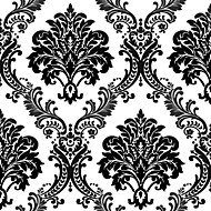 HaokHome® Modern Damask Wallpaper Rolls Black White Non Woven Heavy Textured Wall Paper Realistic Home Decoration