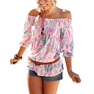 Women's Floral Pink T-shirt,Boat Neck ¾ Sleeve Print Randomly