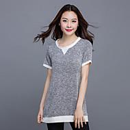 Women's Casual/Daily Plus Size / Street chic Summer T-shirt,Patchwork Round Neck Short Sleeve Gray Cotton / Linen Medium