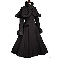 Coat Gothic Lolita/Classic Lolita  Princess Cosplay Lolita Dress Black Solid Long Sleeve Lolita Coat For Women Velvet Lolita Coat With Bow
