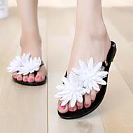 Women's Shoes Patent Leather Flat Heel Flip Flops Slippers Outdoor / Dress / Casual Black / Beige
