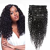 8a 100% clipe natural em extensões de cabelo humano clipe de cabelo brasileiro na onda profunda extensão