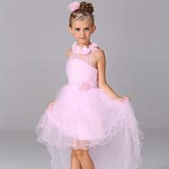 A-line Asymmetrical Flower Girl Dress - Cotton / Satin / Tulle Sleeveless Halter with