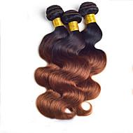 "3Pcs/Lot 8""-24"" Brazilian Virgin Hair,Color 1b/30 Body Wave, Factory Wholesales Raw Human Hair Weaves."