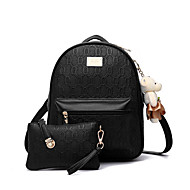 Women PU Casual Backpack Purple / Black