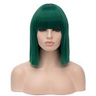 top kvalitet midlle lange lige grøn farve cosplay hår syntetisk paryk