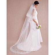 Wedding Veil One-tier Chapel Veils Lace Applique Edge 110.24 in (280cm) Organza