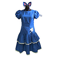 Inspired by Fairy Tail Cosplay Anime Cosplay Costumes Cosplay Suits / Dresses Patchwork Blue Short Sleeve Dress / Headband