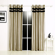 Two Panels Faux Silk Joint Ruffle Lined Blockout Curtains