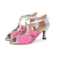 Aanpasbaar-Dames-Dance Schoenen(Blauw / Bruin / Roze) - metWijd uitlopende hak- enSamba