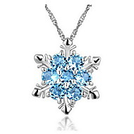 Real 925 Sterling Silver Blue Snowflake Pendant Long Chain Stars Collar Necklace Rhinestone Christmas Festival Jewelry