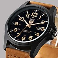 Heren Dress horloge Modieus horloge Polshorloge Kwarts Kalender Leer Band Vrijetijdsschoenen Bruin Groen KakiKoffie Bruin Groen Zwart/Wit