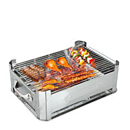 Thick Stainless Steel Grilled Fish Furnace - Large Prevent Wind Type (With Barbecue Net) 30 × 45cm
