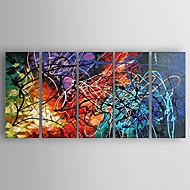 Pintados à mão AbstratoModerno 5 Painéis Tela Pintura a Óleo For Decoração para casa