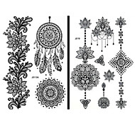 15PCS Fashion Waterproof Tattoo Women Black Henna Jewel Sexy Lace Flower Fairy Temporary Tattoo Stickers