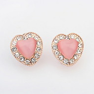 2016 Top Fashion Jewelry Super Cute Pink White Peach Heart Natural Opal Stone Lovely Women Alloy Earrings