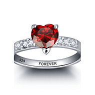 2016 Personalized Red Heart 925 Sterling Silver CZ Stone Wedding Ring For Women