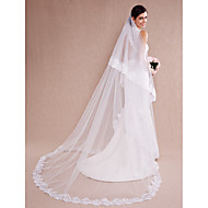 Wedding Veil One-tier Cathedral Veils Lace Applique Edge Tulle White / Beige