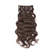 """15 """"-22"""" clip de brasileiro no corpo ondulado 7pcs balck naturais / set clipe de espessura total em extensões de cabelo humano"""