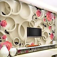 contemporain effet cuir 3d brillant grande peinture murale ronde et fleurs fond d'écran mural art décor pour télévision canapé mur de fond