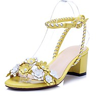 Women's Shoes Calf Hair Chunky Heel Heels / Ankle Strap Sandals Office & Career / Party & Evening / Dress Yellow