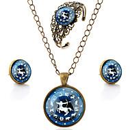 Lureme® Time Gem The Zodiac Series Vintage Sagittarius Pendant Necklace Stud Earrings Hollow Flower Bangle Jewelry Sets