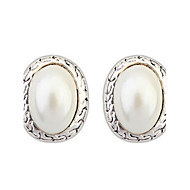 Europe And America Elegant Women Oval Simulated Pearl Pierced Alloy Stud Earrings
