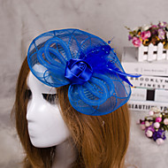 Flower Feather Veil Fascinator Hair Jewelry for Wedding Party