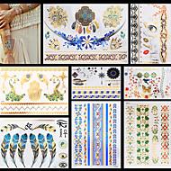 8pcs plata oro metálico tatuaje temporal para las mujeres atractivas de la pluma cadena de la mariposa pegatina Mulicolor resistente al