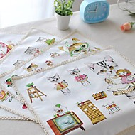 """4pcs napperons pack de bande dessinée chat motif de toile de coton de mode lavable 11.8 """"de 12,6"""""""
