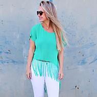 Vrouwen Eenvoudig / Street chic Zomer T-shirt,Casual/Dagelijks Effen Ronde hals Korte mouw Groen Polyester Dun