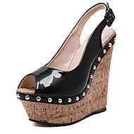 Women's Sandals Summer Wedges PU Casual Wedge Heel Beading Black Others
