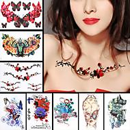 8pcs hoja de Rose hombro de la flor de mariposa de nuevo tatuaje de las mujeres los hombres el arte del cuerpo diseño impermeable etiqueta
