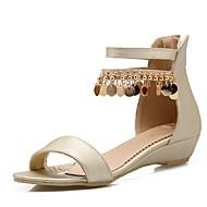 נעלי נשים-סנדלים-דמוי עור-פלטפורמות / נעלים עם פתח קדמי / סירה-לבן / כסוף / זהב-משרד ועבודה / שמלה / קז'ואל-עקב וודג'