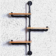 DIY Book Shelves American Iron Wall Industrial Loft-Style Wood Wall Shelf Shelves Retro Water Pipe Rack Bookcase-(Z22)