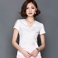 Mulheres Camiseta Casual Plus Sizes / Sensual Primavera,Sólido Branco Náilon Decote V Manga Curta Média