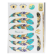 6PCS Waterproof Body Art Women Gold Colorful Jewel Sexy Flower Temporary Tattoo Stickers Braclet Necklace Chain Feather