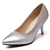 Calçados Femininos-Saltos-Saltos / Bico Fino-Salto Agulha-Preto / Verde / Roxo / Vermelho / Prateado / Bege-Courino-Escritório & Trabalho
