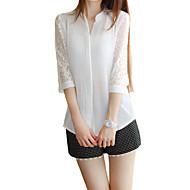 Enfärgad Trekvartsärm Skjorta Kvinnors Rund hals Polyester