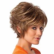 vrouwen kort krullend synthetisch haar pruik bruin met haarnetje