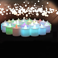 결혼식 장식 24PCS 색상 변화 화염이 설정 tealight의 촛불 생일 파티 장식 배터리를 빛 LED