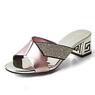 Women's Shoes Chunky Heel Heels / Peep Toe / Slippers Sandals Office & Career / Dress / Casual Black / Pink / Silver